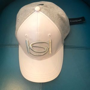 NEW LIST'g! bebe Heather Gray & White Ball Cap NWT